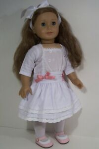Rebecca Reproduction WHITE Party Dress Doll Clothes For 18 American Girl (Debs*