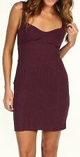 NEW Womens Large Intimately Free People Bodycon Slip Dress Plum Berry Polka Dots