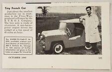 1949 Magazine Photo Flea-Way Tiny French Car Made by S.T.R.O.J. Company