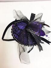 New Women's Halloween Fancy Purple & Black Lace Cap Fascinator Hat Headband
