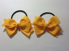 Madelienas Handmade  YELLOW-GOLD colour . DOUBLE BOWS hair ties/ A Pair