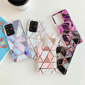 For Samsung Galaxy S20 FE Note 20 Ultra S10 A41 Marble Geometric Soft Case Cover
