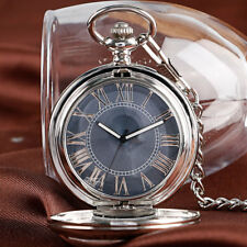 Classic Automatic Mechanical Pocket Watch Fob Chain Skeleton Gray Dial Men Women