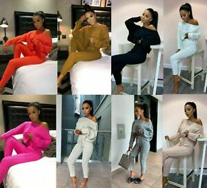 Womens Cable Knitted Loungewear Ladies Co-Ord Cropped Off Shoulder Tracksuit