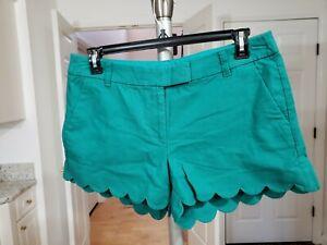 J Crew Womens Watermelon Green & White  Linen Scalloped Edge Shorts Szs 12 & 14