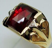 1.35Ct  Men's Princess Diamond 14K Yellow Gold Over Red Ruby Gem Ring
