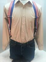 """New, Men's Stars and Stripes ,XL, 2"""", Adj.  Side Clip Suspenders, Made n the USA"""