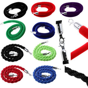 1.5/ 3/ 2m Queue Rope Barrier Twisted/Velvet Rope Crowd Control with Silver Ends