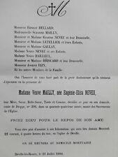 MAILLY Neveu FAIRE PART Bellard Letellier GALLAY Bailleul BRISCARD Rizy 1896