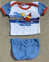 Vintage Judy Philippine Terry Cloth WINDSURF Tee & Shorts 9 Mos 1970s 1980s