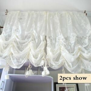 Lace Voile Curtain Panel Embroidery Pelmets Window Drape Divider French Country
