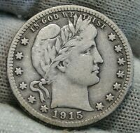 1915S Barber Quarter 25 Cents. Key Date 704,000 Minted, Nice Coin (9889)