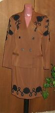 Vintage The Collection Eletra Casadei Brown Double Breast Skirt Suit S/M