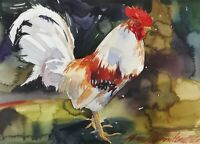 Rooster Chicken Original Watercolor Painting Farm House Decor Artwork by Artist