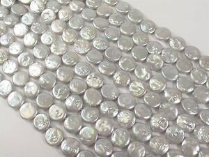 """13-14 mm white  Coin Freshwater Pearl Beads, Cultered Pearl Beads 14"""" AAA+"""