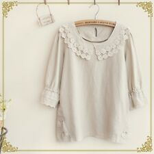 Brand New Korean Style Peterpan Doll Lace Collar Linen Shirt Blouse Top XS