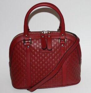 $995 NWT GUCCI MICRO GUCCISSIMA GG DOME CROSSBODY HANDBAG IN RED