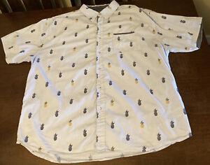 Modern Culture Shirt Mens 4XL Blue Tropical Pineapple Modern Fit Button Down