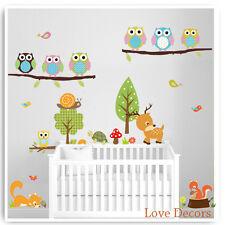Owl adesivi murali Animali Giungla Zoo Vivaio Bambini BABY ROOM ARTE Decalcomanie Murale