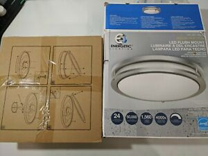 """Energetic 14"""" 24W Double Ring LED Flush Mount Ceiling Light Brushed Nickel New!"""