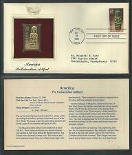 # 2426 AMERICA PRE-COLUMBIAN ARTIFACT 1989 Gold Foil First Day Cover (Addressed)