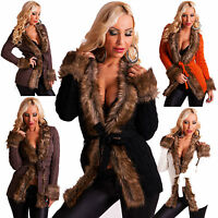 Top Women's Clubbing Coat Cardigan Ladies Fur Party Jumper Jacket Size 6 8 10 12