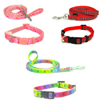 Puppy Dog Collar & Long Lead Sets Soft Gentle Adjustable strong Cushioned Nylon