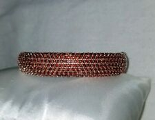 Ross Simons Sterling silver pave orange Malaya Garnet cluster bangle bracelet
