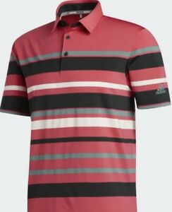 New Adidas Men's Ultimate 365 Stripe Golf Pink Short Sleeve Polo Shirt Size L