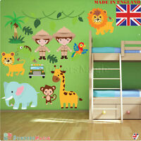 Nursery Wall Art Stickers Safari Animals Jungle Nursery Decal Kids Childrens