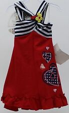 Sweet Heart Rose for Dollie & Me Red White Blue Convertible Halter Dress Size 5