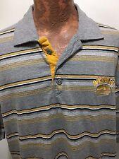 Akademiks Mens XL Gray Yellow Striped Short-Sleeve Polo Shirt