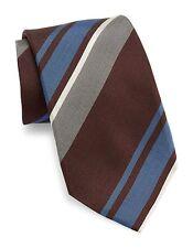 VINCE CAMUTO Men's 100% Silk Neck Tie, Universita Stripe, Blue/ Grey/ Burgundy