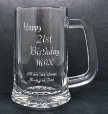 More details for personalised 1 pint glass tankard happy 21st birthday free gift box rh