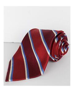 Brooks Brothers Mens 100% Silk Tie Regimental Red Blue White Striped Necktie NWT