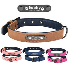 Soft Leather Personalized Dog Collar Free Engraved Name Samll Medium Large Pets