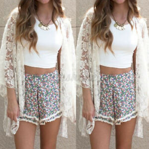 2021 Womens Summer Lace Floral Hollow Out Long Sleeve Tops Cardigan Coat Jacket