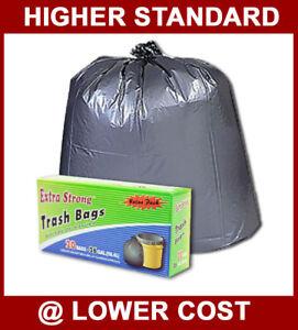 288 33 gallon Black Large Trash Yard Bags Liner Household Use Waste Garbage
