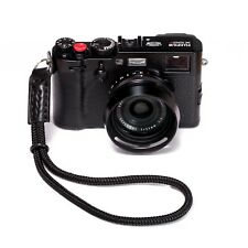 Black Braided Marine Rope and Leather Hand Camera Strap - Fits Fuji, Sony Etc