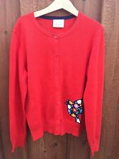 Hanna Andersson Girls 140 Bird Red Cardigan Sweater Button Down
