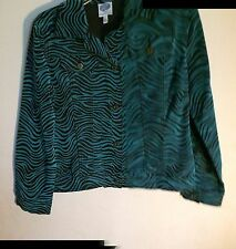 NEW..DG2..DIANE GILMAN..S..JACKET..BLACK & TURQUOISE ANIMAL PRINT..