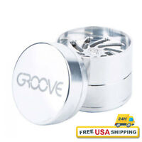 """Groove Grinder Aerospaced (Small) 2"""" Silver 4 Piece -Great for Coarse Grind Herb"""