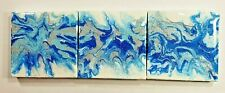 Original Mini Acrylic Pour Painting With Three Canvases in Blues, Silver & White