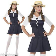 Adult School Girl Uniform Fancy Dress Costume and Hat Smiffys Size 4-16 L