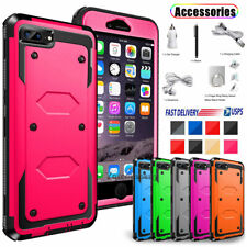 For iPhone 5 SE 6S 7 8 Plus Case Hybrid Hard Heavy Duty Shockproof Rubber Cover