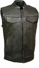 Milwaukee Leather SH2036 Men's Black 'Club' Open Neck Leather Vest with Dual Gun
