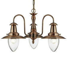 Fisherman Copper 3 Light Ceiling Pendant Chandelier Fitting Seeded Glass Shades