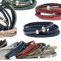 Wickelarmband Damen Armband Strass Beads Charm Kette Magnet modische 3 Stränge
