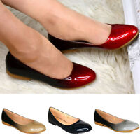 Ladies Flat Ballerina Glossy Gradient Shoes Closed Toe Holiday Evening Ombre