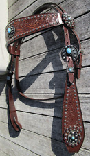 New: Unique* Browband Style Headstall, brown with turquoise dolphin conchos